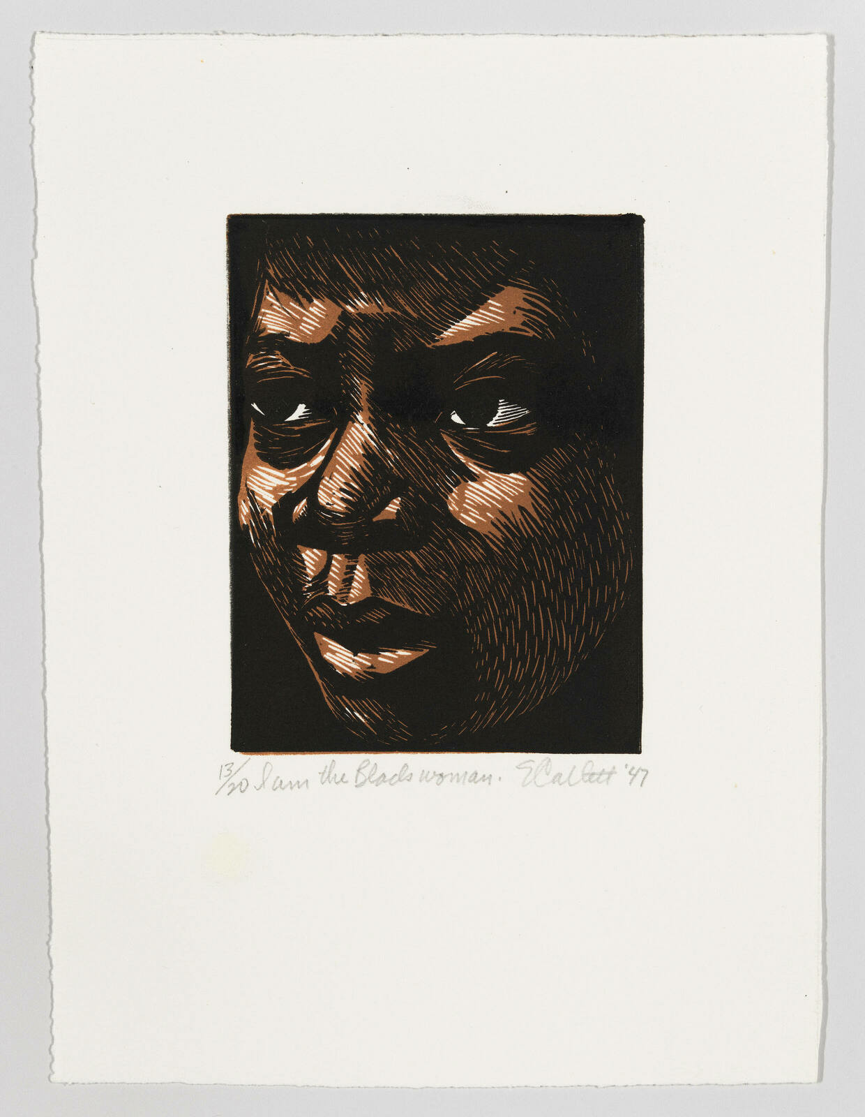 A close-up print of Black woman's face looking off to the side.