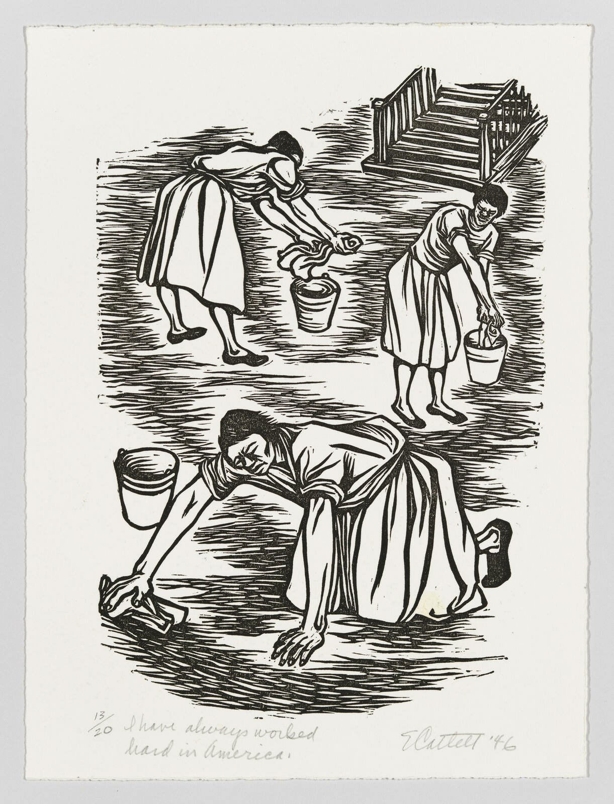 A Black woman on all fours scrubbing the floor with a rag, while two other women ring out rags in the background.