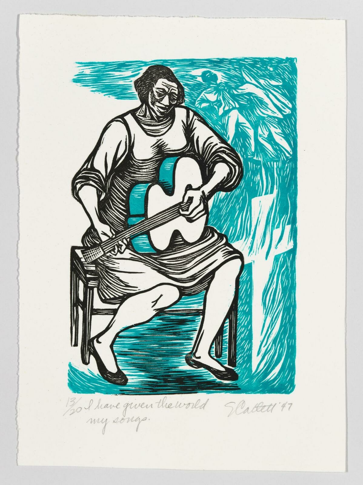 A Black woman sitting on a chair and playing guitar, printed in black, with teal depictions of violence against a Black man.