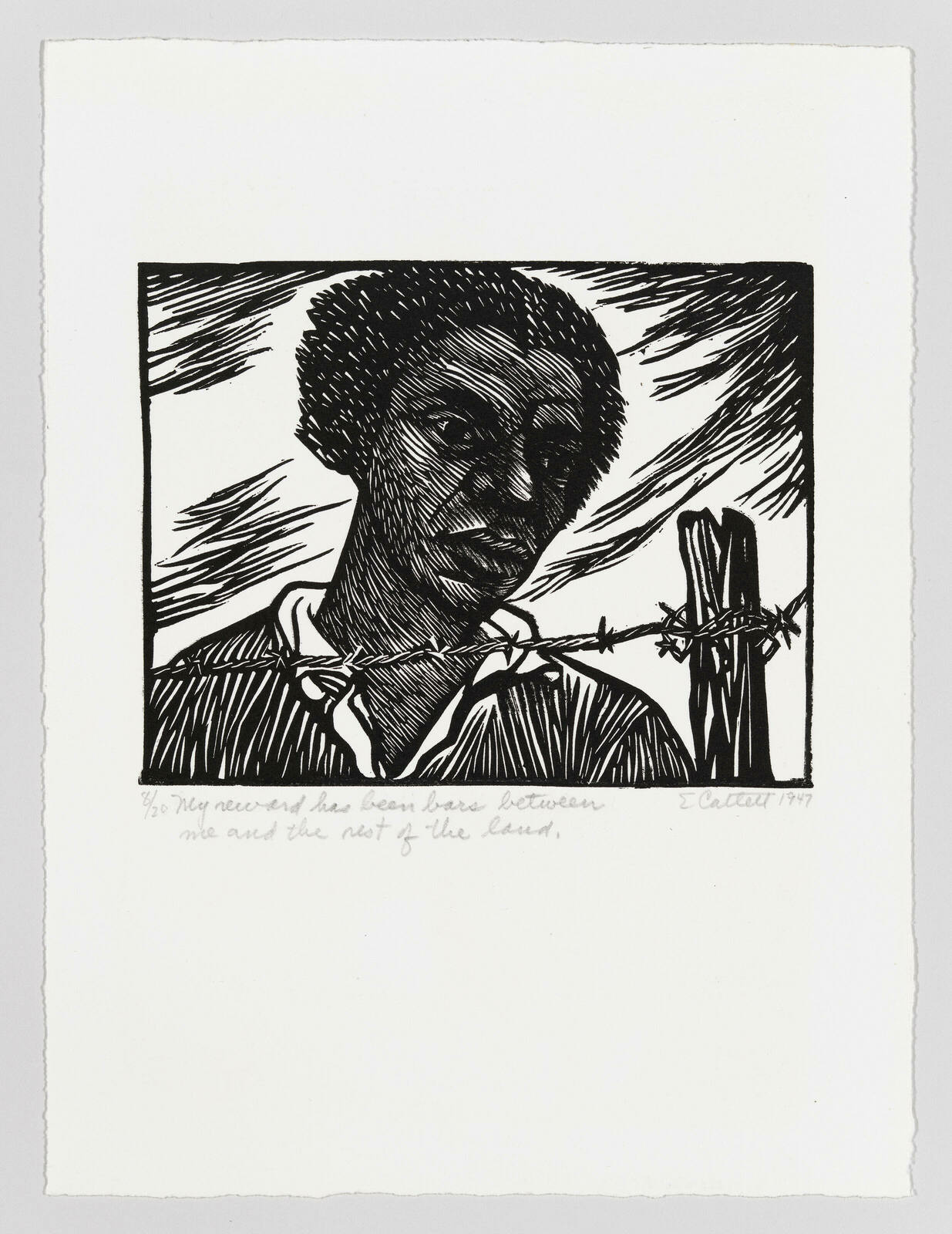 A Black person, composed of lines, looks beyond the barbed wire that crosses the foreground