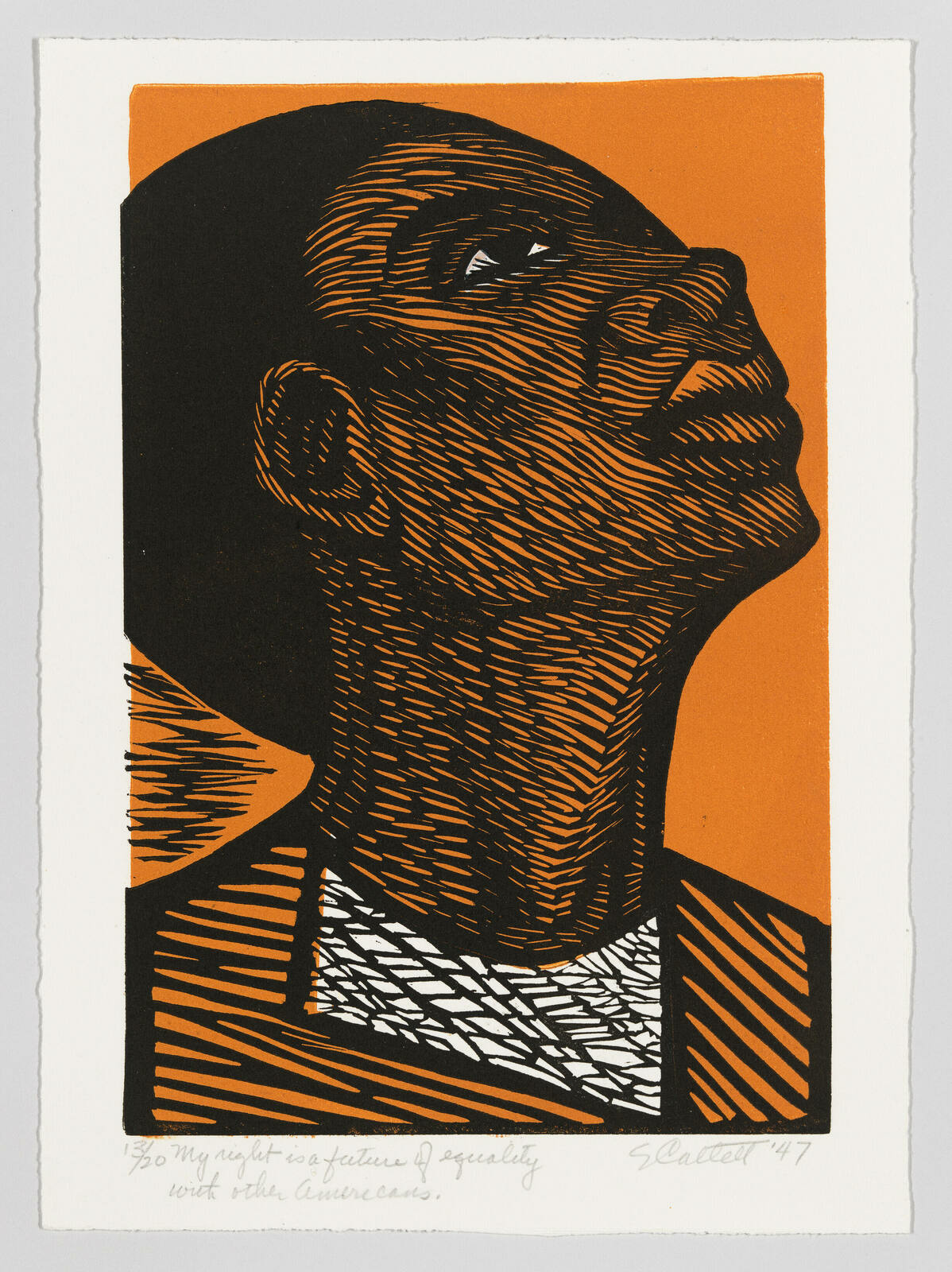 A Black woman cast in orange with raised head and eyes turned up.