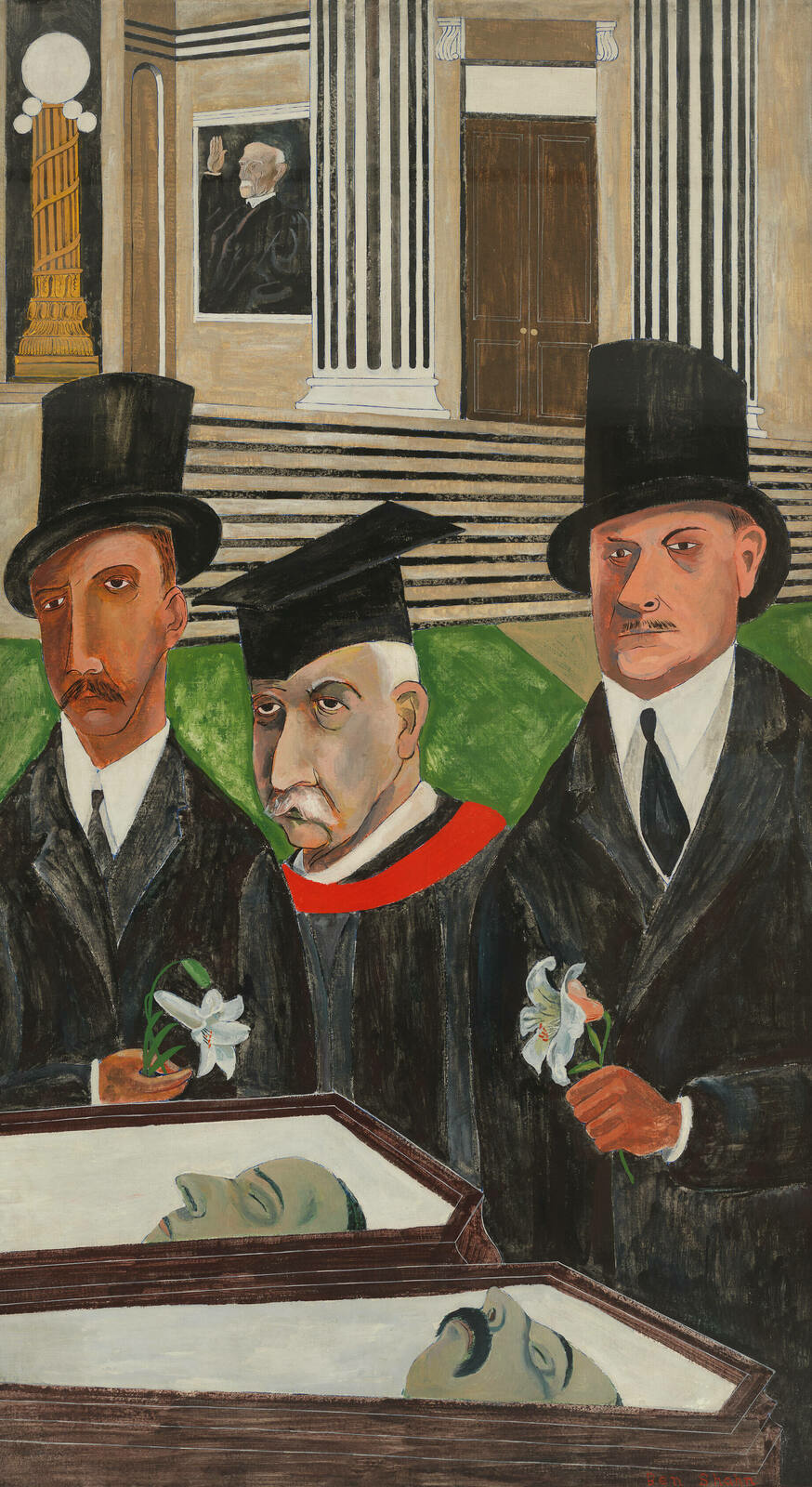 Painted with angular lines and emotionless faces, three suited men gaze over two open caskets, with a courthouse in the background