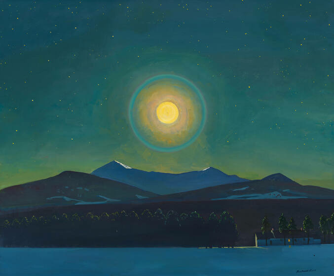 The moon, a yellow orb encircled by a bluish green ring, floats in a starry sky above mountains, trees, and a small white house.