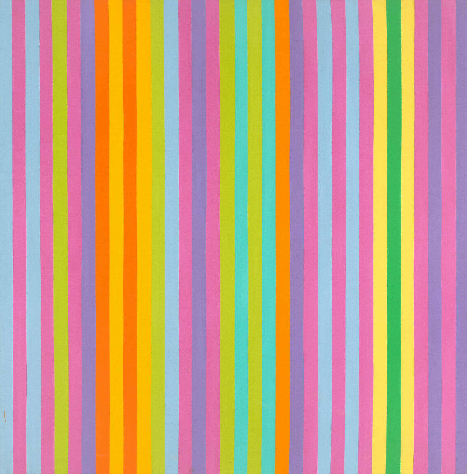 Compact columns of narrow lines in sky blue, candy pink, lime green, lavender, orange, turquoise, and kelly green alternating in a seemingly random order.