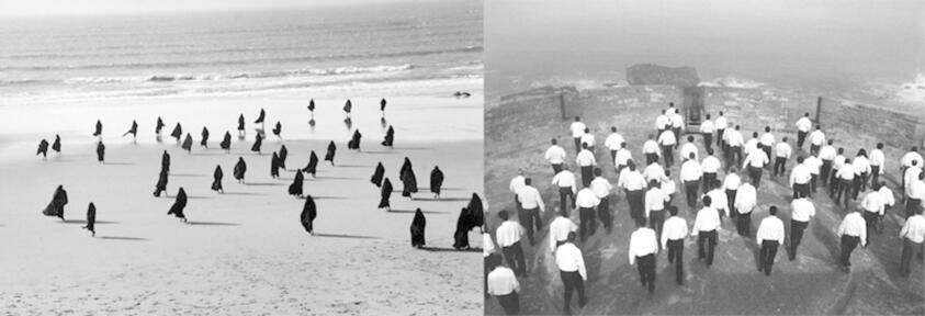 Two synchorized black and white films, with the left side showing veiled women on a desert and the right side showing men in Western style suits roaming a human made fortress