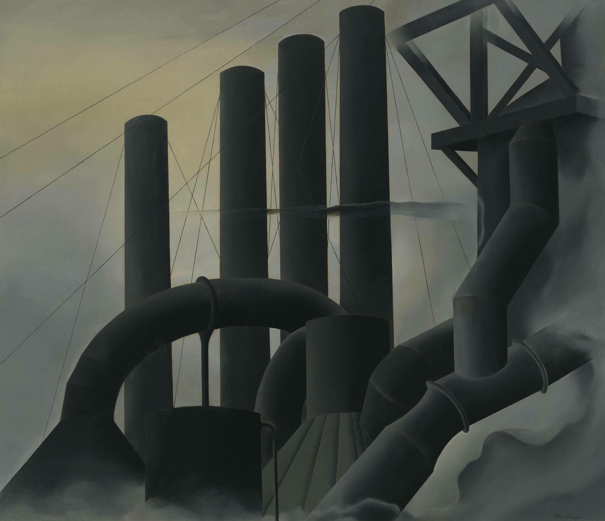Dark smoke stacks towering against a gray sky