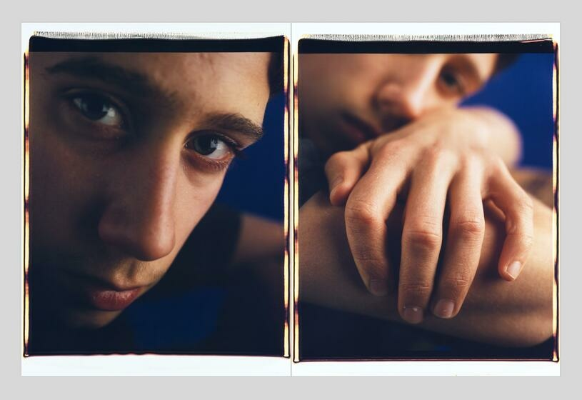 Two portraits of a young person arranged as a diptych: one a close-up of their face; and the other a close-up of their left hand draped across their right arm, with the subjects's face slightly out of focus