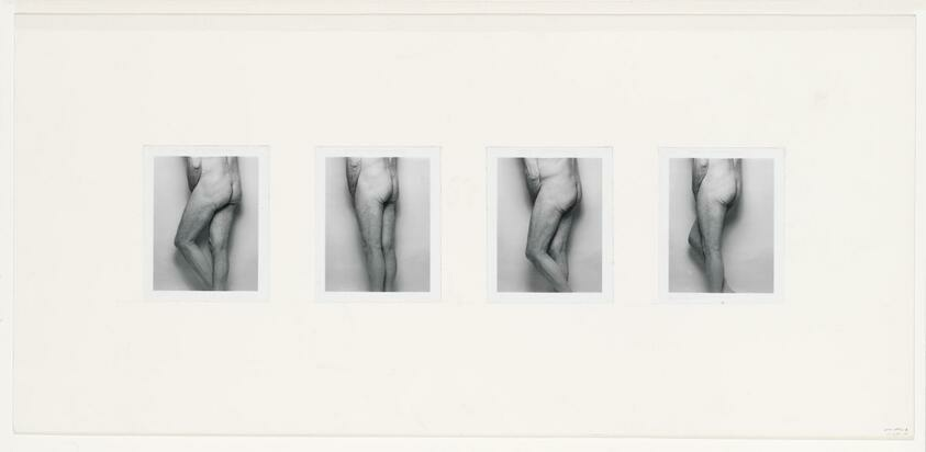 A row of four small photos of a white man's nude backside, his hands covering his groin.