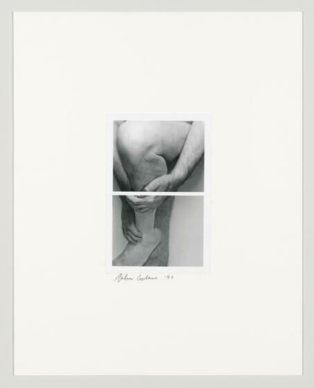 Black and white diptych of a nude white man's legs, his hands holding up left leg up.