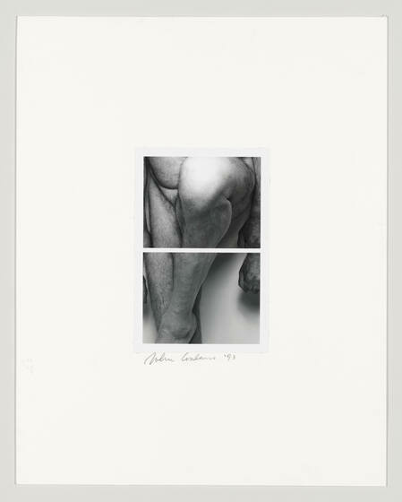 Black and white diptych of a nude white man's legs, his left foot resting on his right knee.