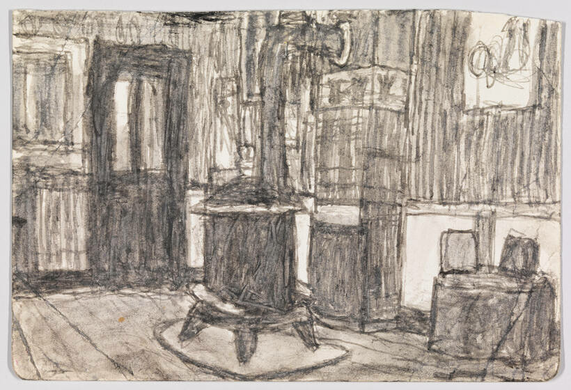 A greyscale sketch of the interior of a cabin with a black stove in the middle.