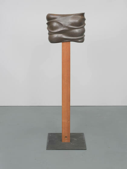 A brown pole topped with a rectuangular, metallic piece full of folds and curves