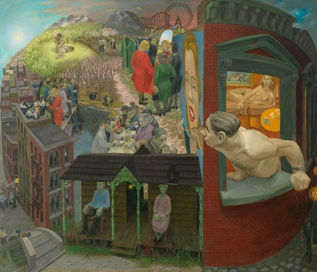 A shirtless white man looks out his bedroom window onto a fantasia of varied landscapes, architecture, and eccentric figures. Behind the man, a nude white woman sits up in bed.