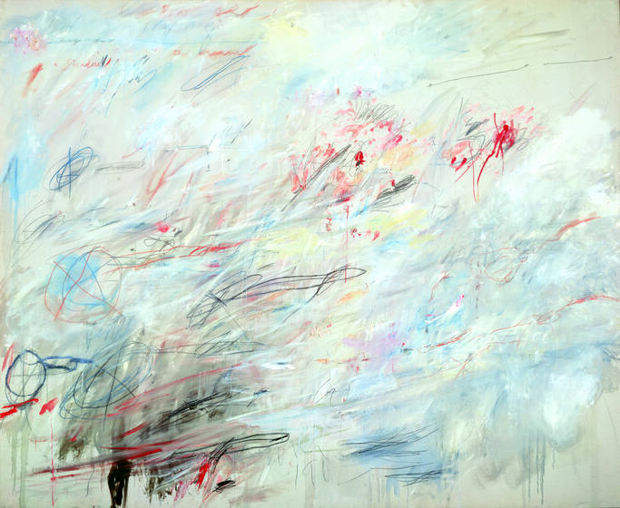 Across a pale background, sharp red and black markings crash into blurs of blue and white, and flares of yellow and lavender.