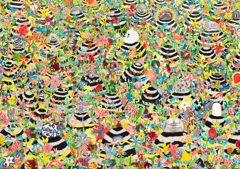 Among a cluttered expanse of yellow, red, green, blue, and orange flowers, a number of black and white, horizontal stripe mounds protrude, some with big round cartoonish heads and zany expressions.