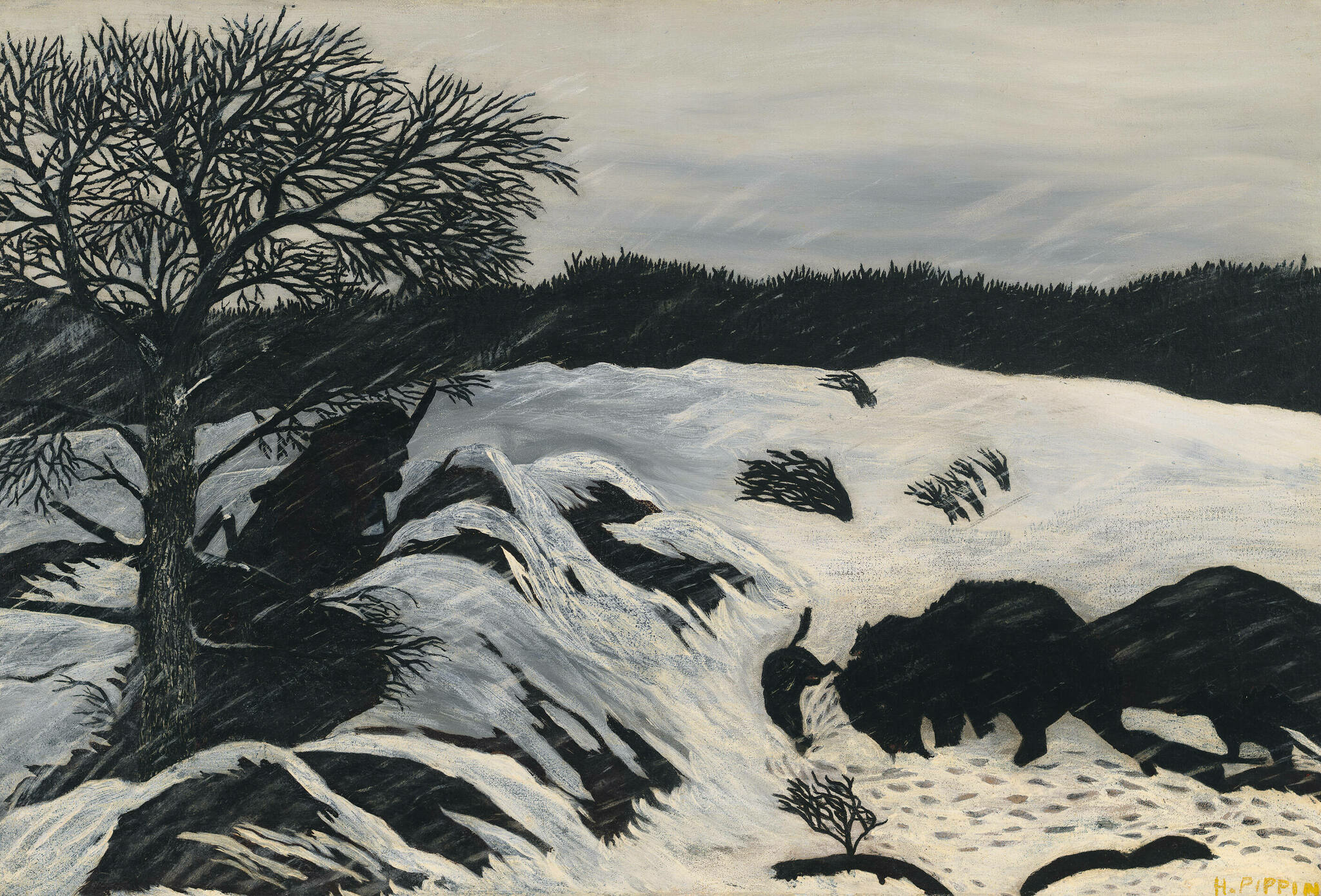 In a windy, snow-covered landscape, silhouettes of a hunter and buffalo appear among bare trees and large rocks.