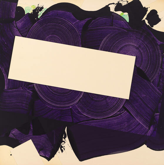 An off-white rectangle, horizontal and slightly angled, floats among broad, dark purple swirls and splatters