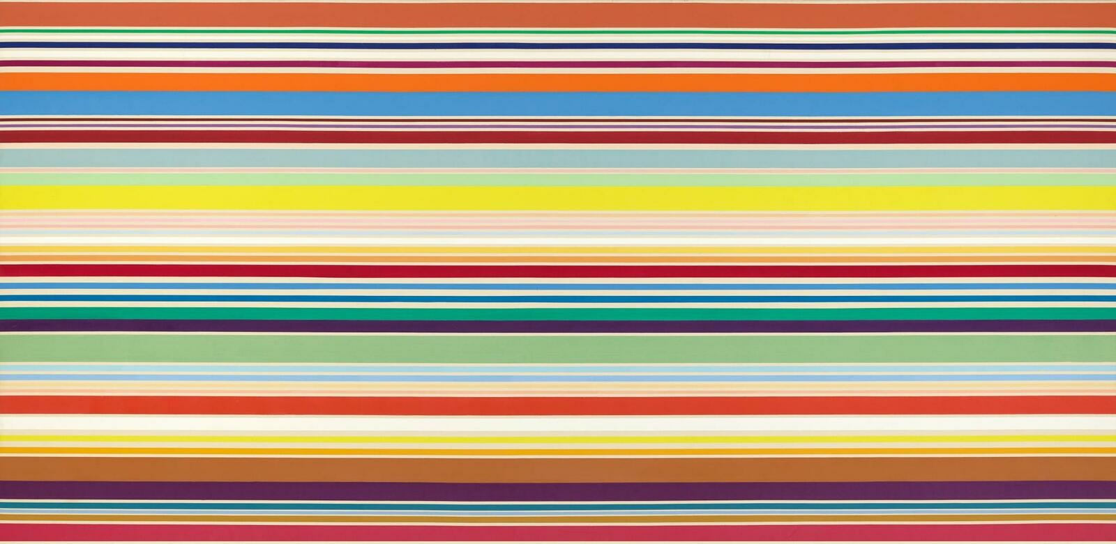 An abstract landscape of sharp horizontal lines of varied weights in shades of orange, yellow, red, green, blue, and white.