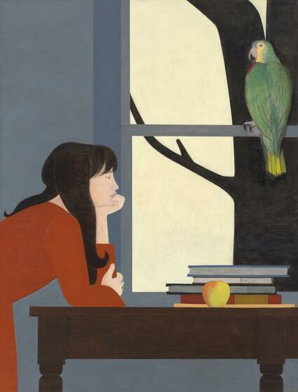 A white woman with long dark hair in an orange-red dress leans on a tabletop beside a stack of books and apple. She looks past a large green bird that sits in the big, nearby window.