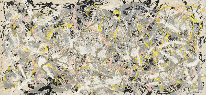 A dense frenzy of paint splatters in black, gray, white, and muted pink and yellow.