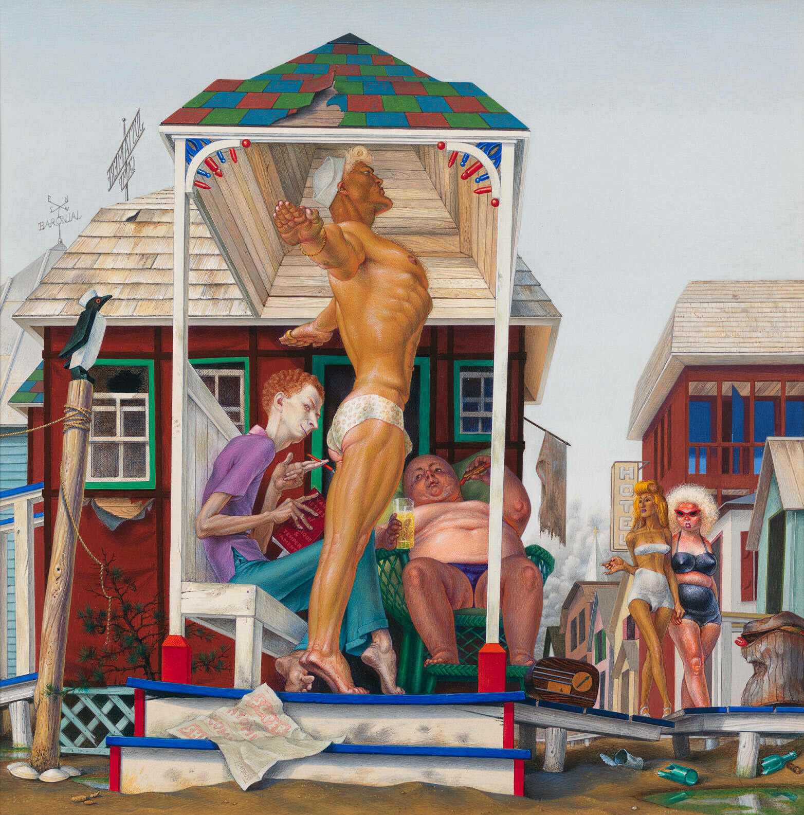 A buff, tan white man in a speedo and sailor hat poses on a front porch as if preparing to dive. Other white figures lounge around and stroll on the adjacent boardwalk.