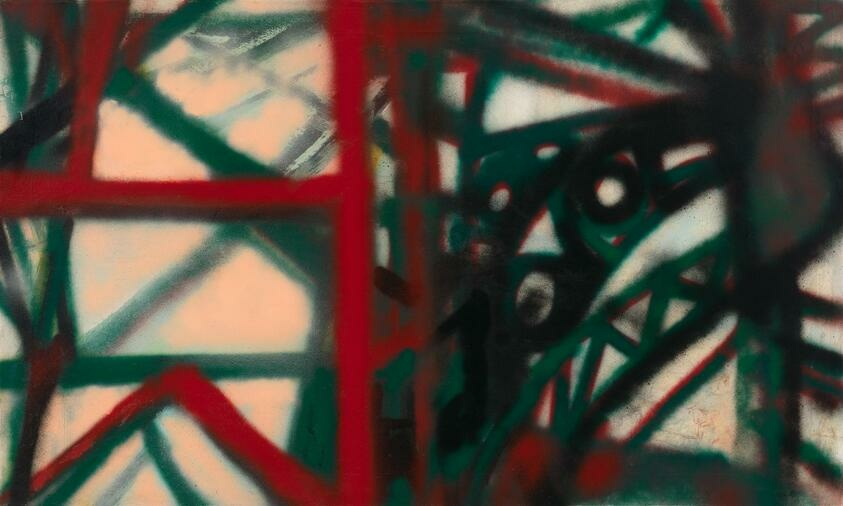 Heavy and soft red, green, and black lines intersect to form dense and sparse geometric shapes, the colors smearing together at different points.
