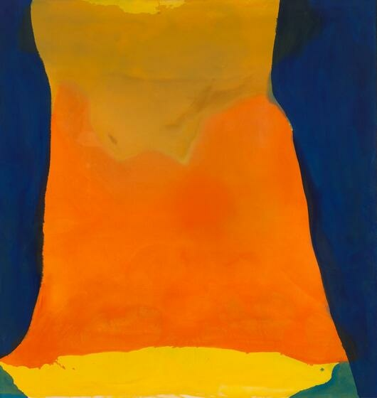 Broad, horizontal swaths of gold, orange, and yellow, flanked by fluid strips of royal blue.