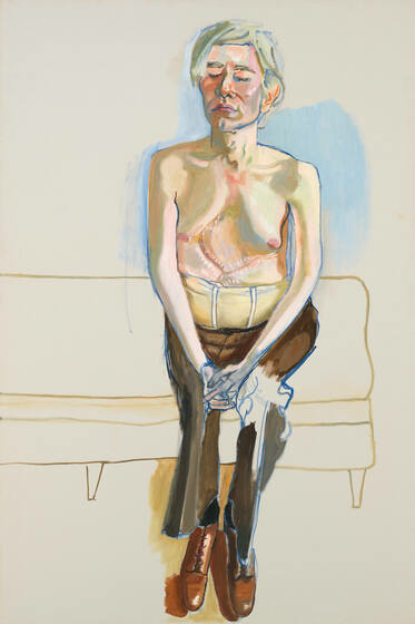 Andy Warhol sits shirtless on a bench with his eyes closed, his skin pale and his torso scarred. A supportive corset fits snuggly around his waist.