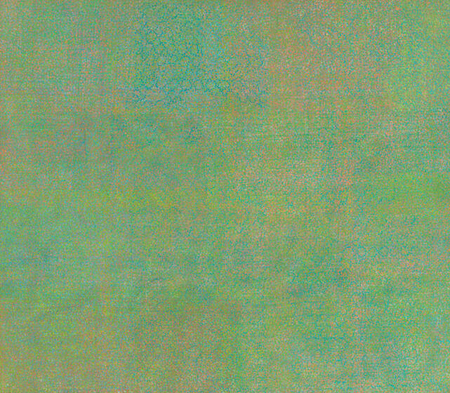 Innumerable specks of pink, orange, yellow, green, and blue, densely accumulated into a soft and smooth polychromatic abstraction