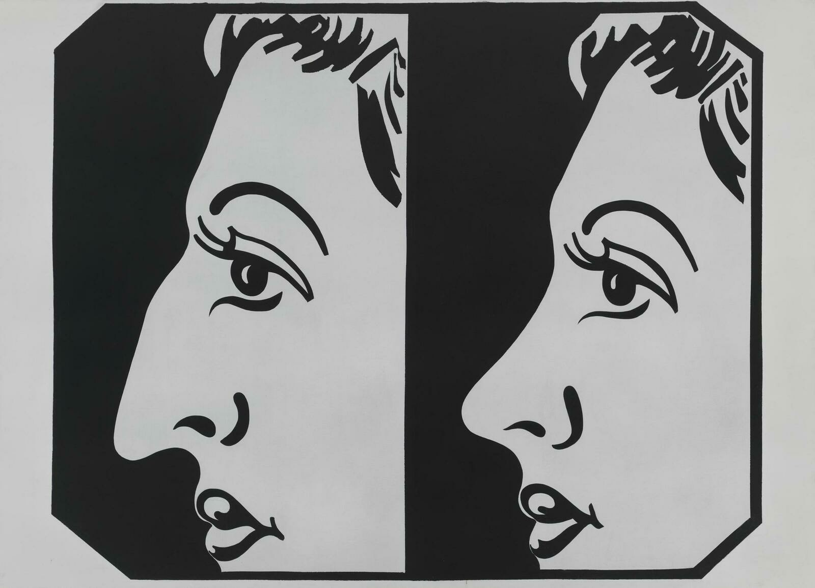 Two juxtaposed profile views of the same woman, one with a large nose and one with a small nose