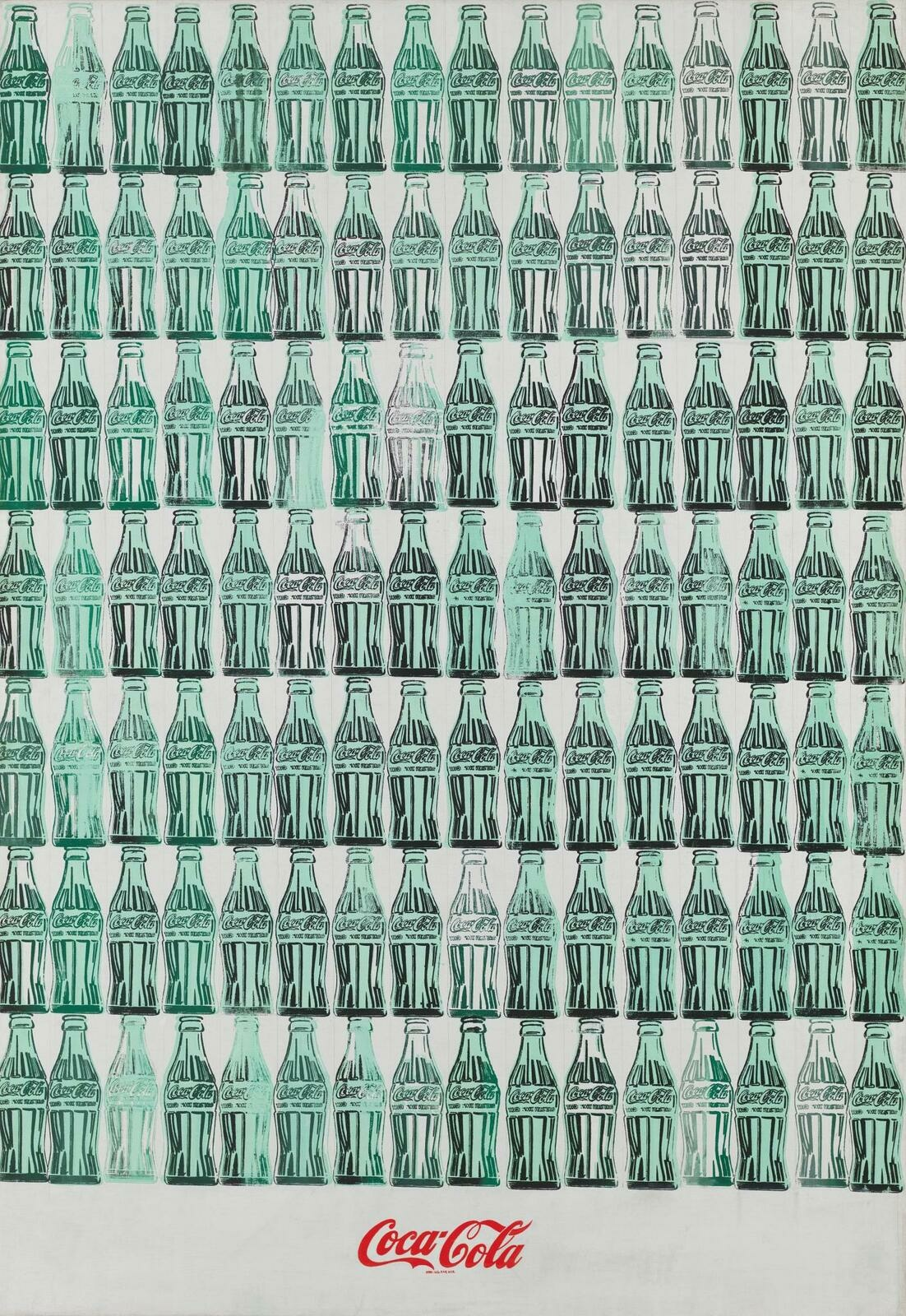 Grid of neatly packed seafoam colored Coca-Cola bottles. A bright red logo of the Coca-Cola brand is placed on the center plane, underneath the grid