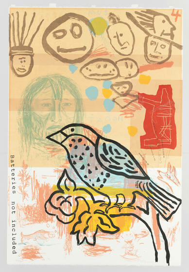 The outline of a bird on a branch, backdropped by floating abstract faces, orange-ish red scribbles, blue and yellow dots, and a more detailed person with a concerned expression.