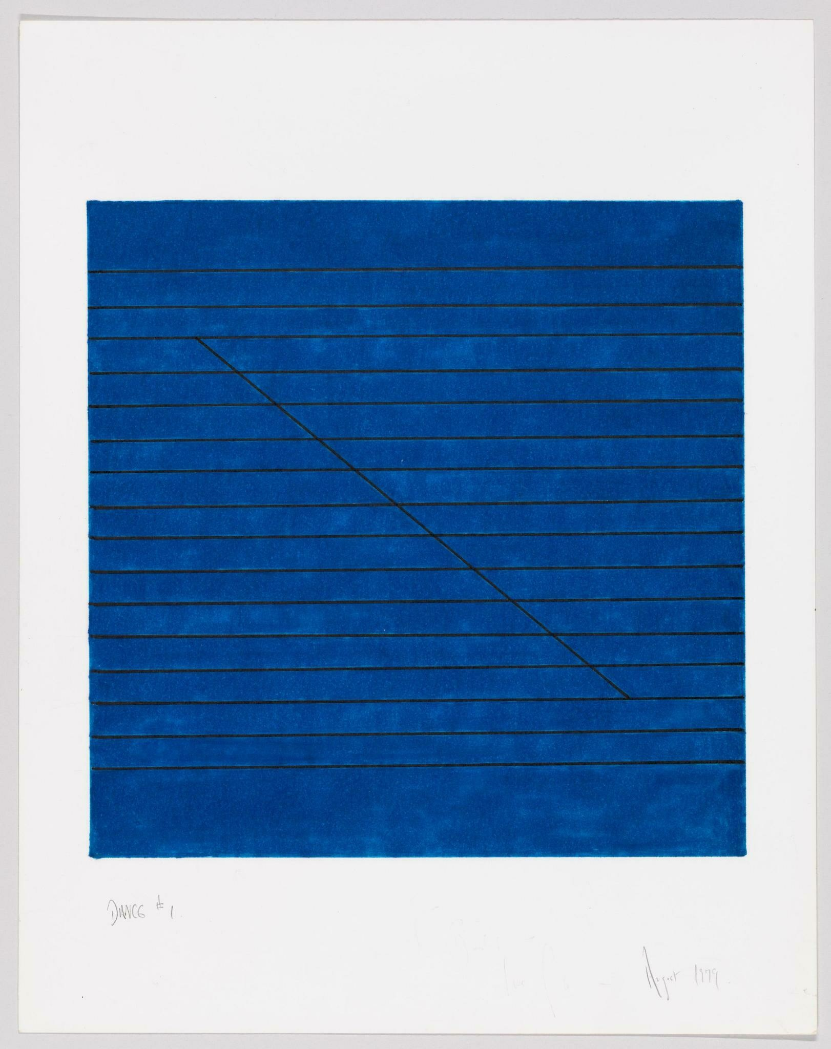 A blue rectangle containing several equally spaced horizontal black lines, all intersected by a single diagonal line