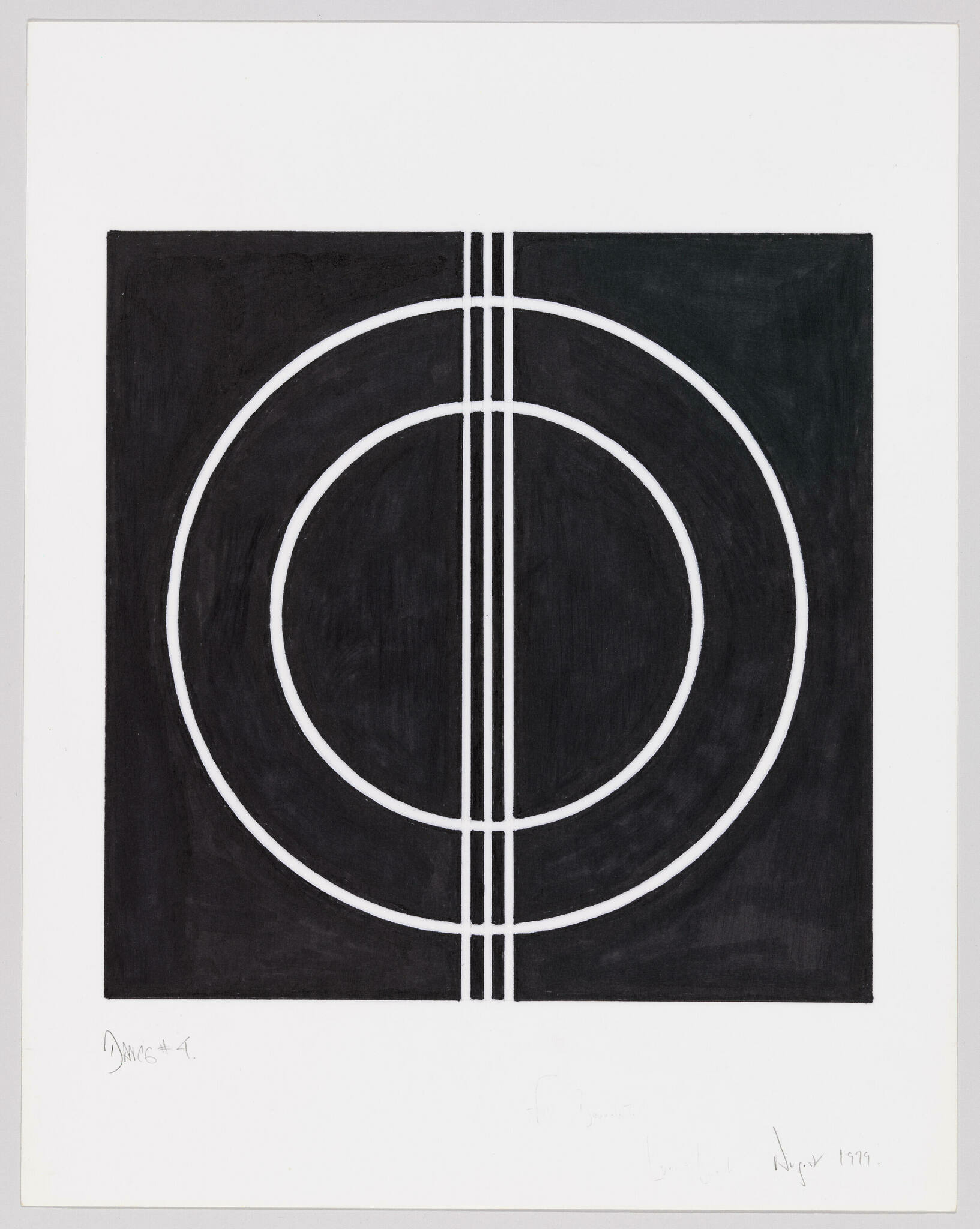 Two thin white concentric circles broken by three vertical lines against a black square background