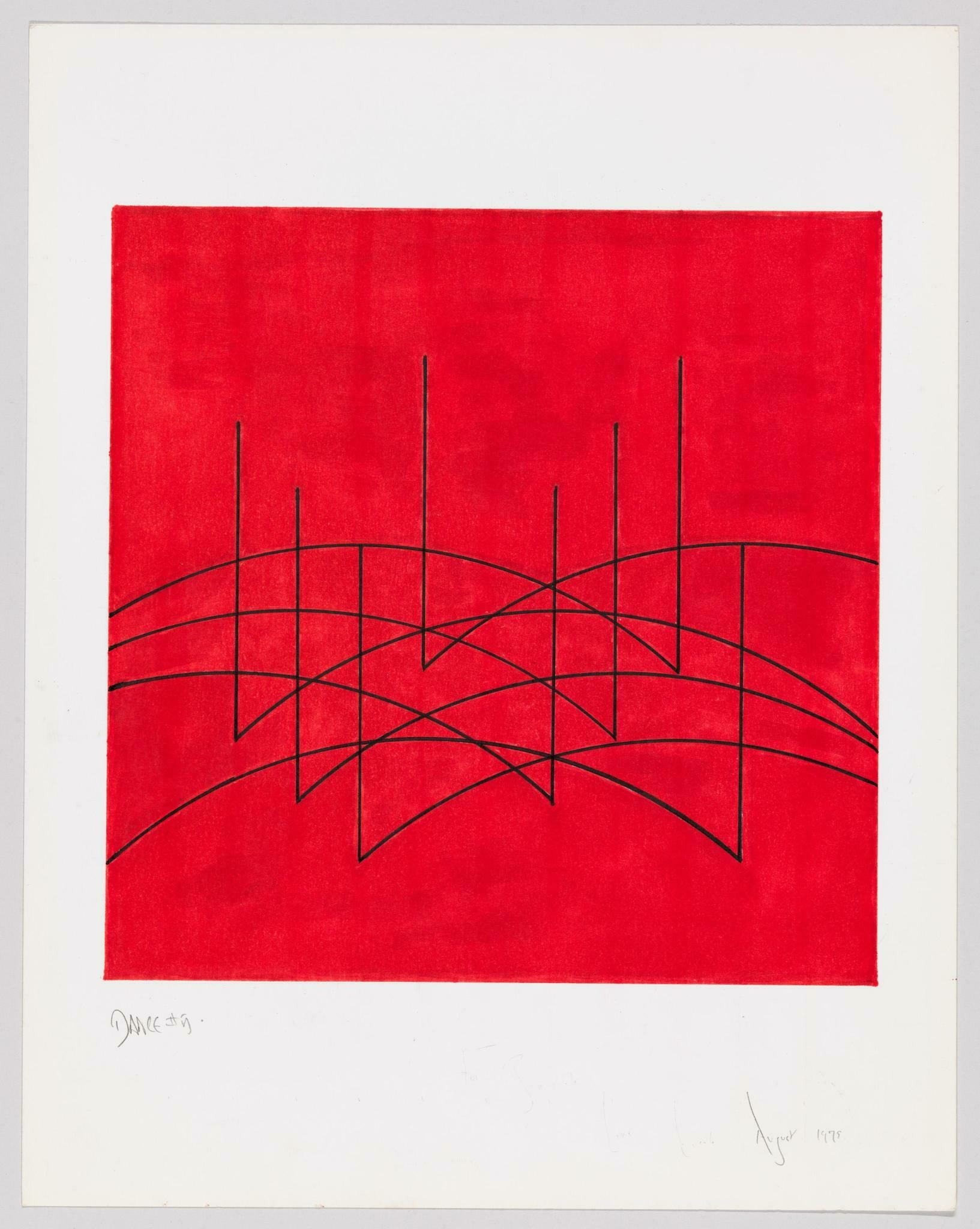 Thin black lines stand, then leap, in arcs across a red backdrop