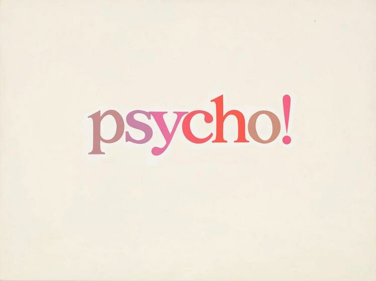 """The word """"psycho"""" is written in varying pink hues aganist a cream background"""