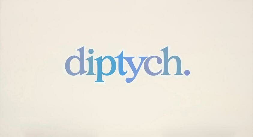 """The word """"diptych"""" is written in varying blue hues aganist a cream background"""