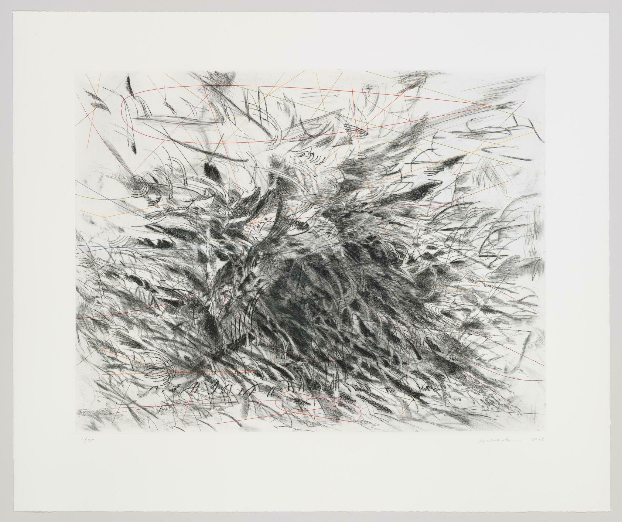 A frenzy of quick, black marks emanate from a dense center to the edges of a designated frame, while thin red lines intermittently weave through the action.