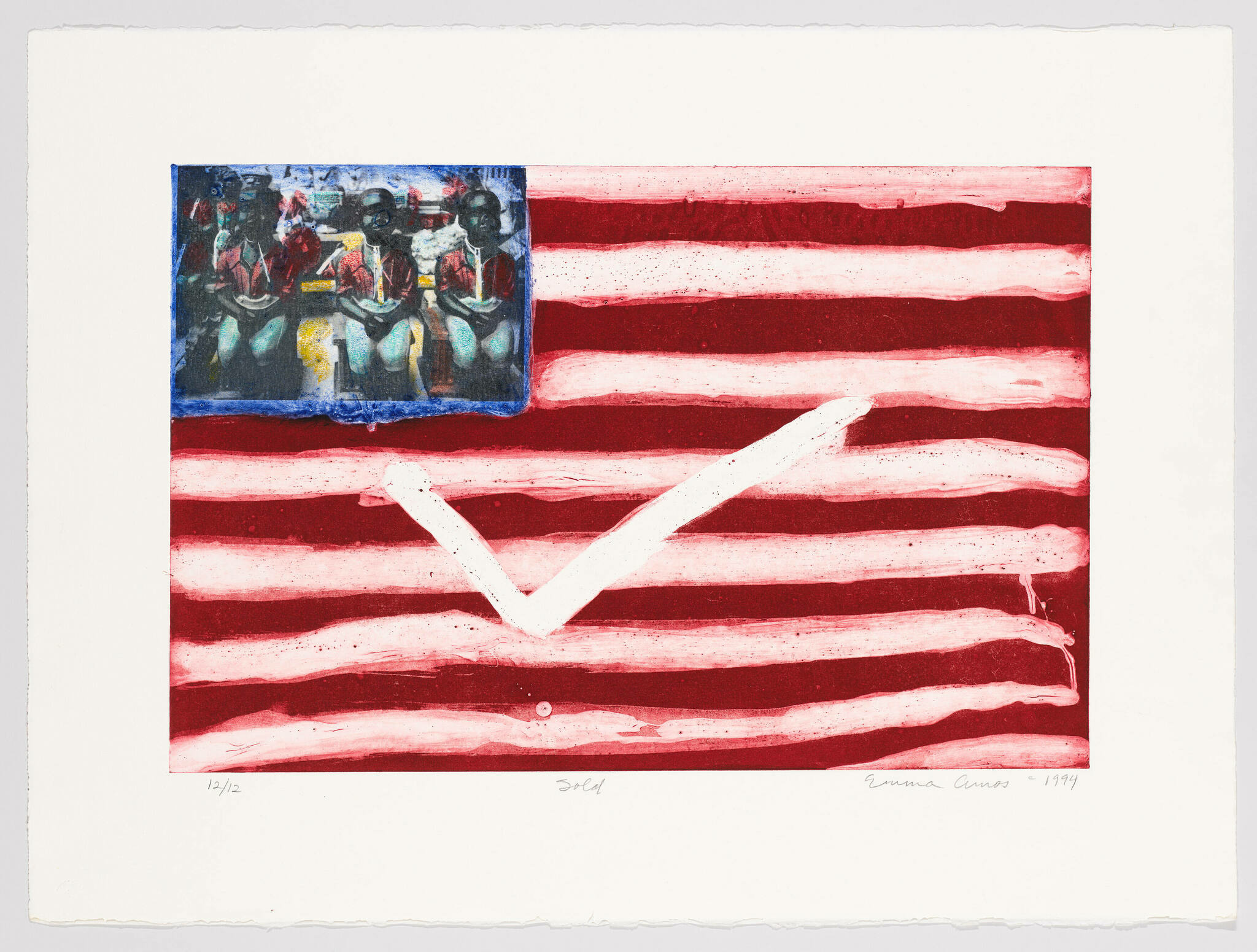 A large white checkmark and line of sitting figures are transposed upon the framework of an American flag