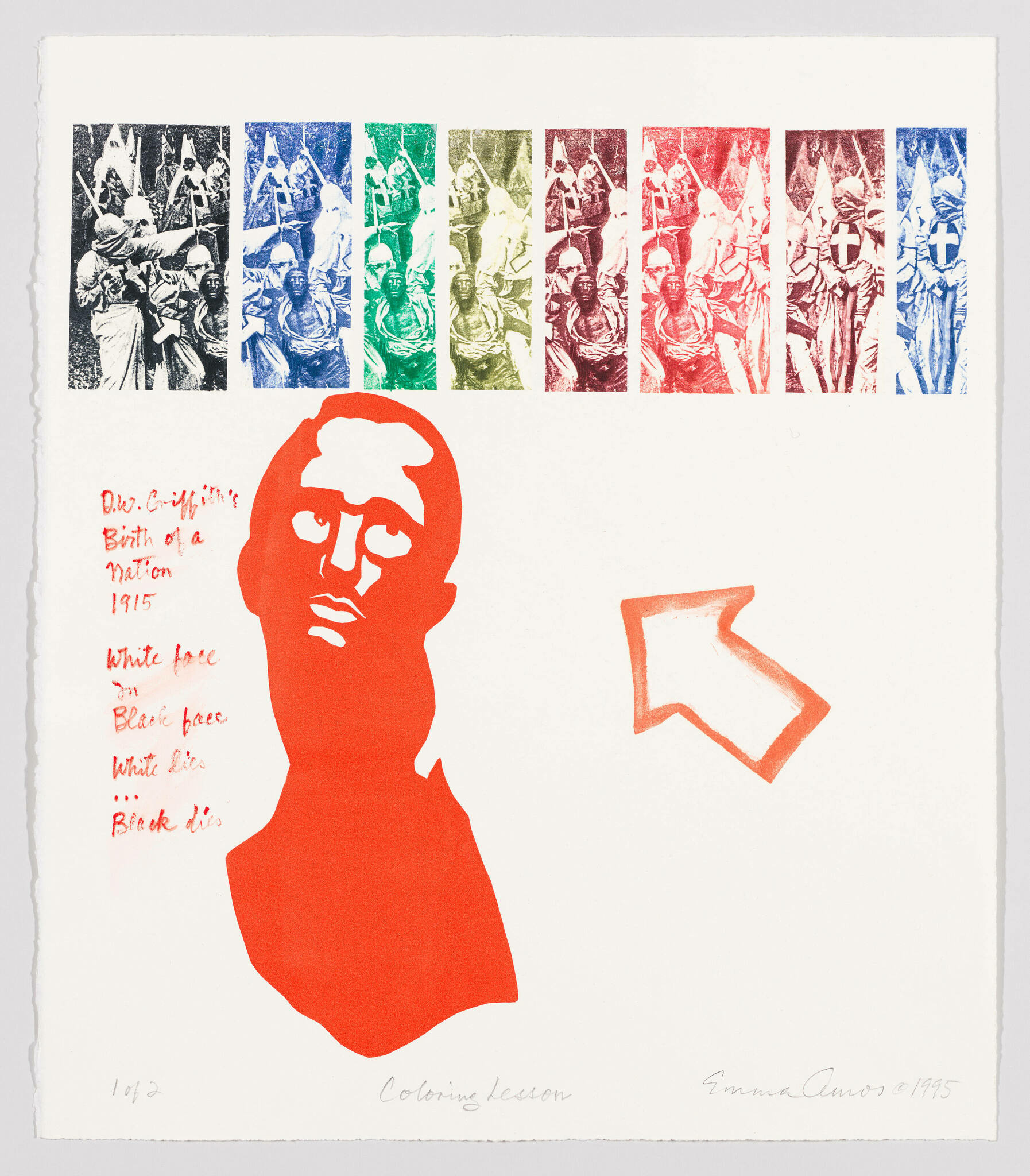 A red printed bust of a black man, flanked by text and an arrow, looking up at multicolored reproductions of his own lynching.