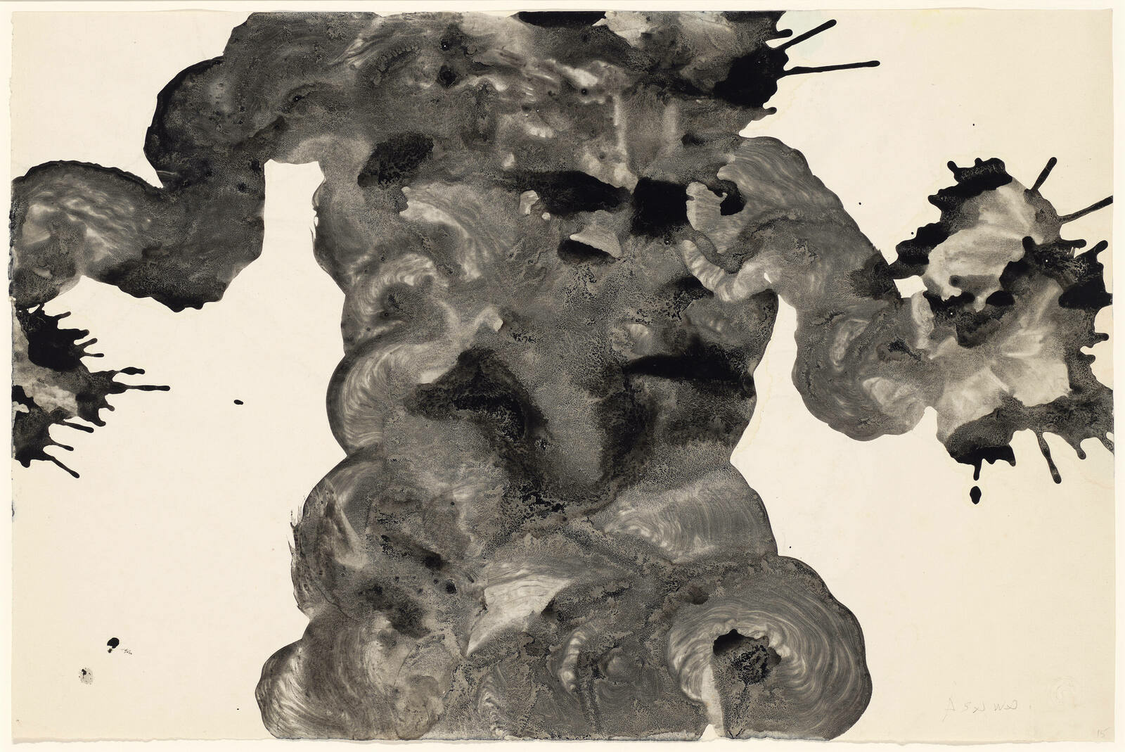 Inky brush strokes fill the center third of a sheet of paper and branch sideways to the edges, ending in watery splash marks
