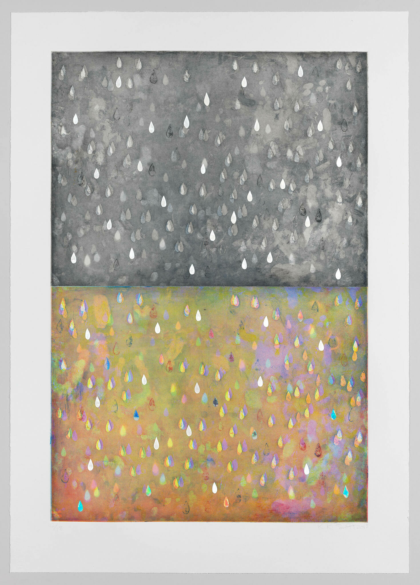 A diptych portraying rain, one in black and white, the other multicolored.