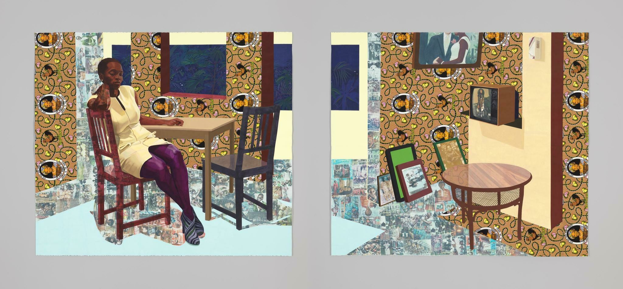 In a room extending across a diptych, a pensive Black woman sits at a table surrounded by pattered surfaces.