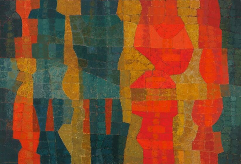 A mosaic of vertical strips of dark teal, bright reddish orange, and gold. The strips vary in width and have wobbly edges.