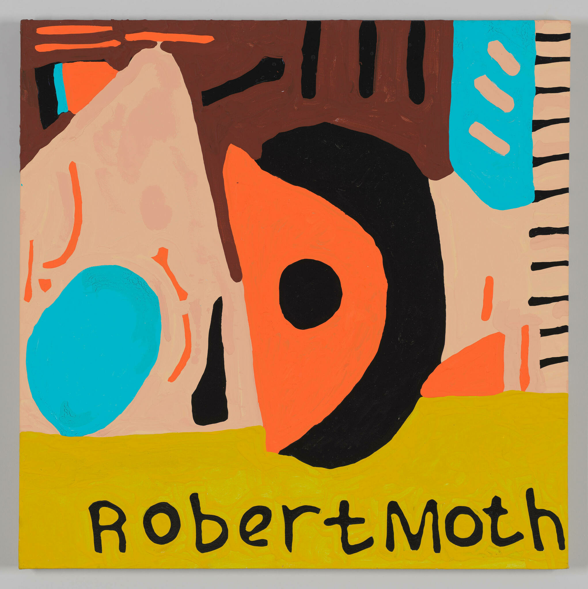 """Organic shapes in brown, orange, black, peach and turquoise float above of yellow horizon on which the words """"Robert Moth"""" are written in black."""