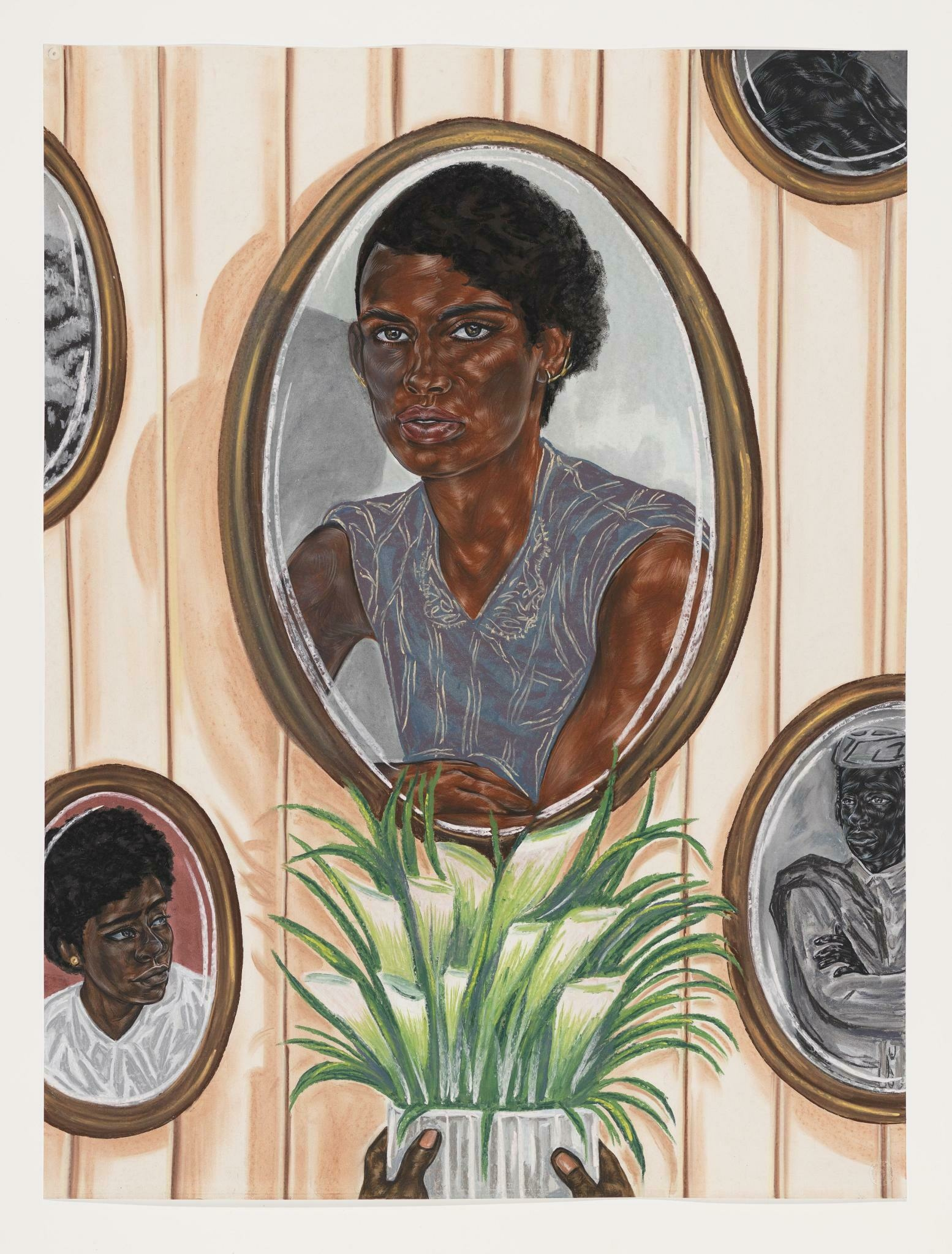 A wall with a portrait of a Black woman, with additional portraits and hands holding a vase of lillies surrounding her.