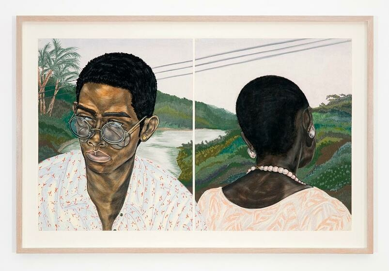 In two panels, a Black man gazes from his glasses, while a Black woman turns to the grasses behind them