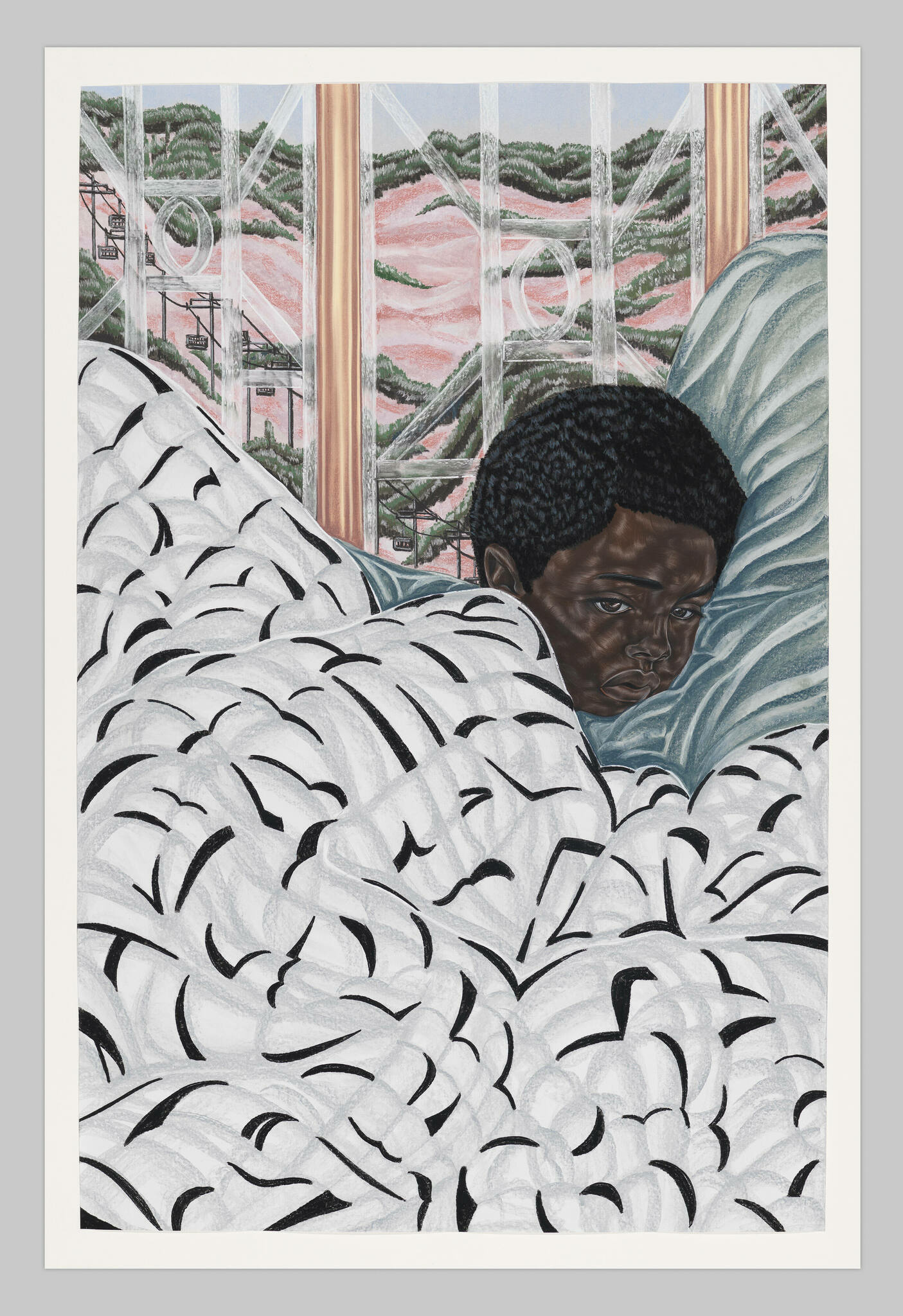A Black child with a nervous expression is tucked into bed in front of a lavish window.