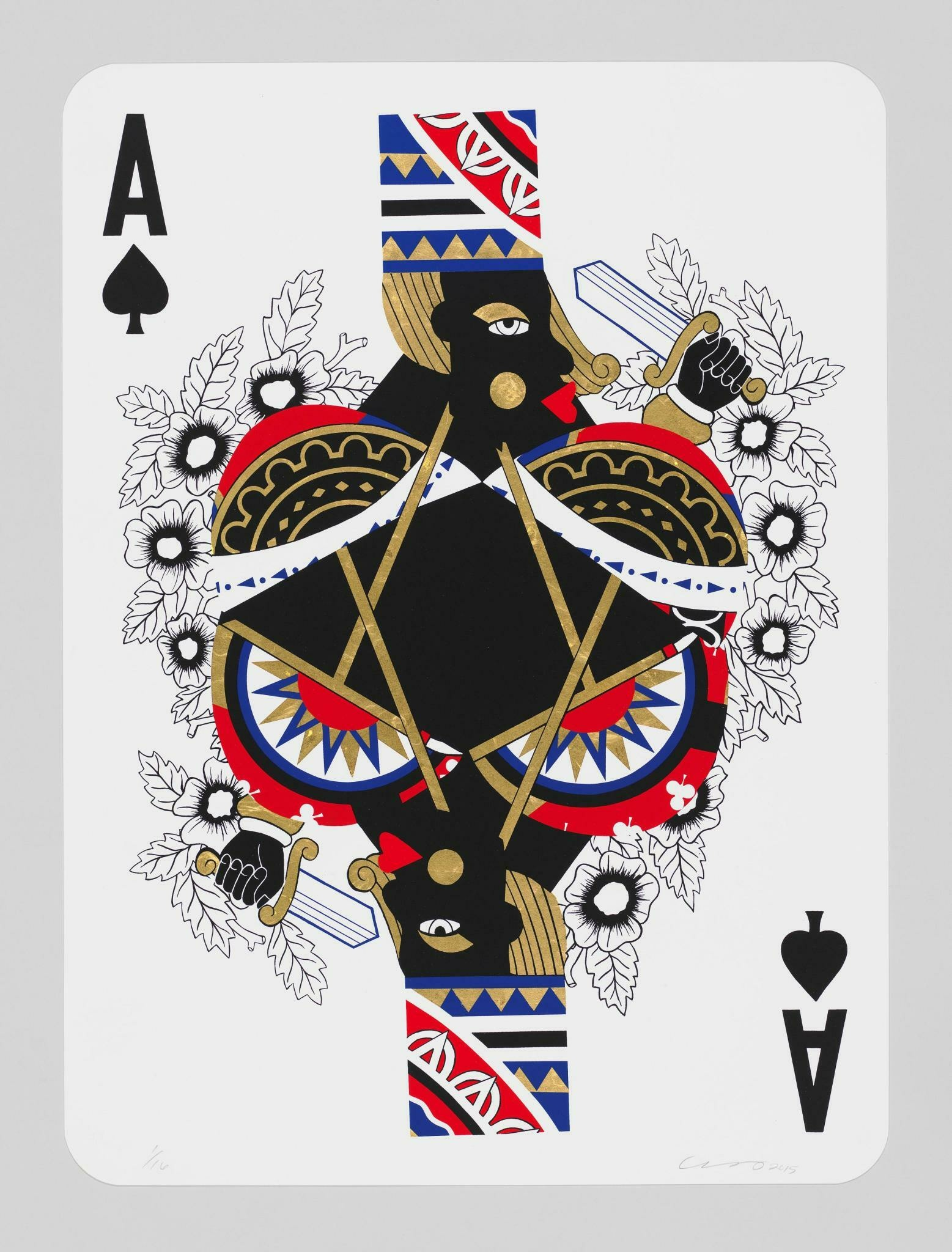 A playing card with a Black figure's mirrored bust at the center. The figure wears a printed cylindrical hat and holds a dagger.