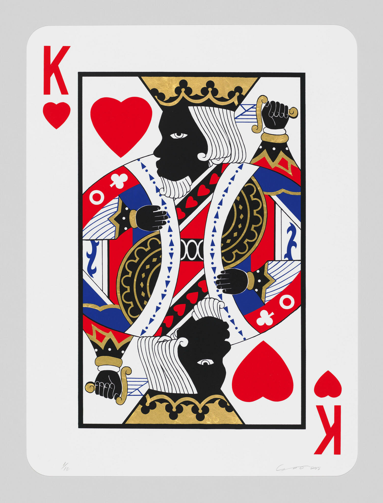 As in a deck of cards, this is the king of hearts card. The double faces are painted black.